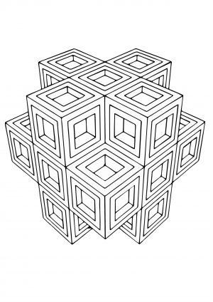 Объемный куб - раскраска антистресс