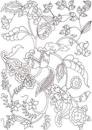 Раскраска антистресс с цветочным узором