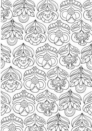 Раскраска - узор с цветами
