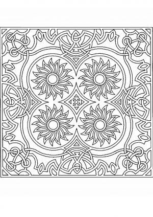 Раскраска узор с цветами