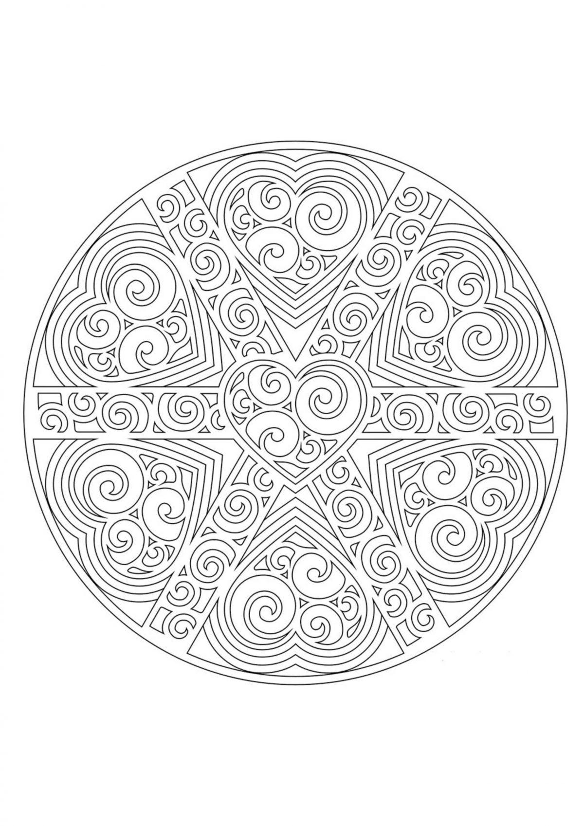Раскраска узор в круге - Раскраски А4 формата для распечатки