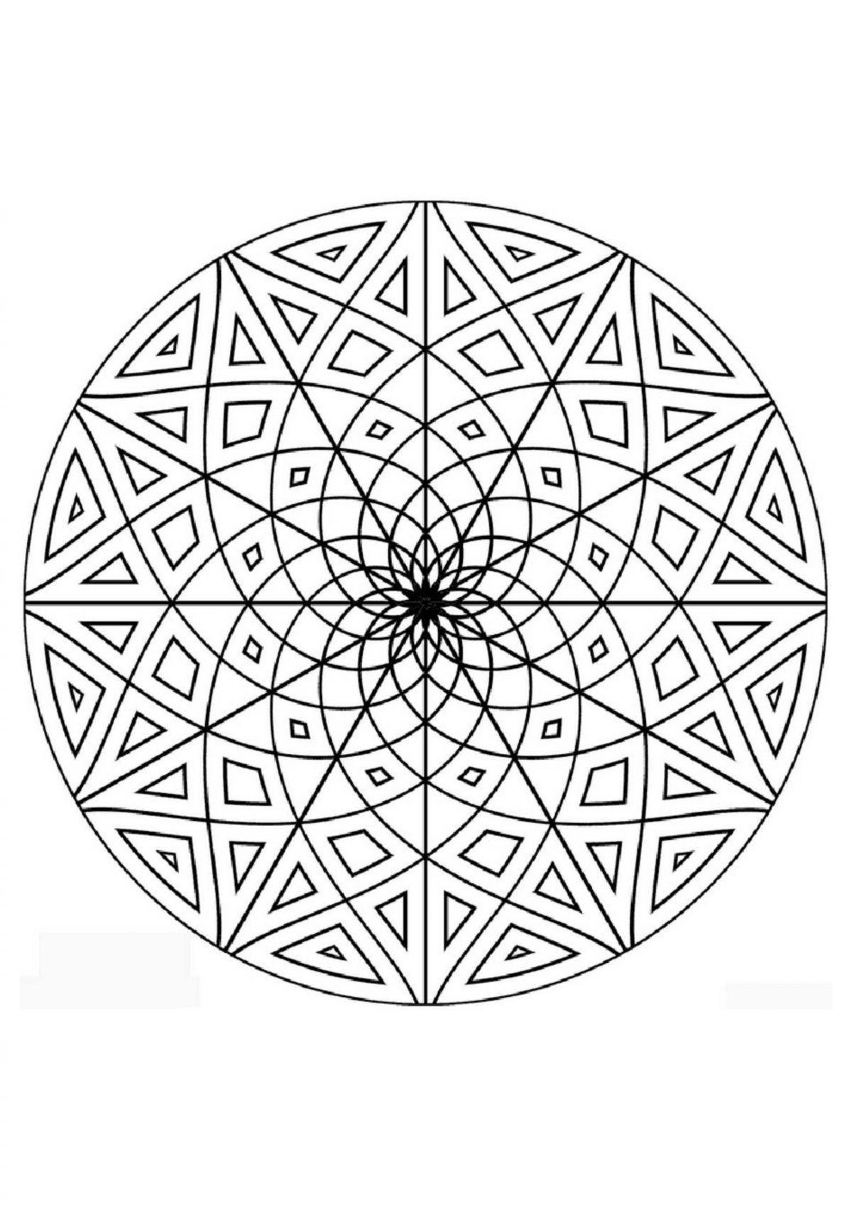 "Раскраска ""Узор в кругу"" - Раскраски А4 формата для распечатки"