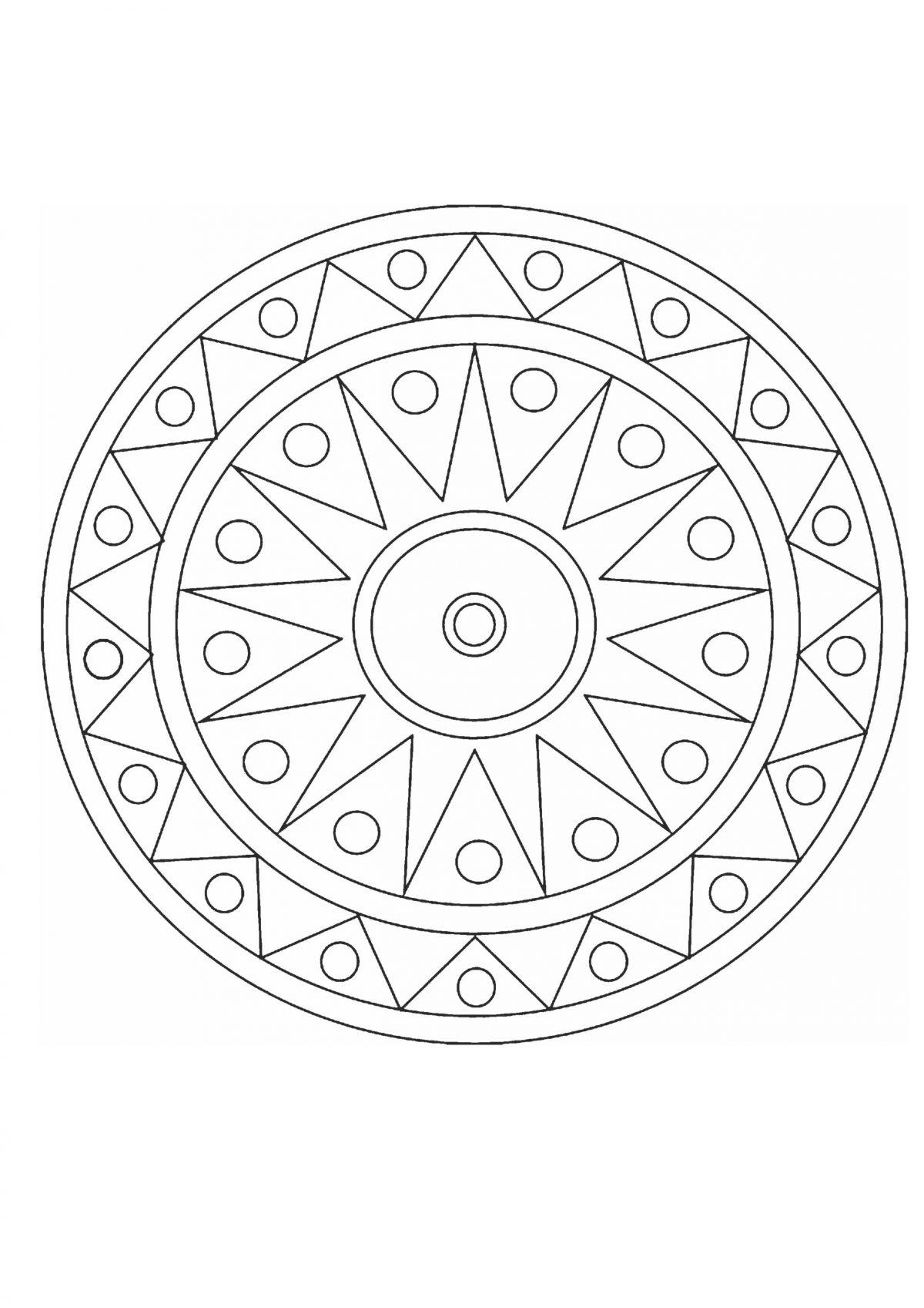 Круг с простым узором - Раскраски А4 формата для распечатки