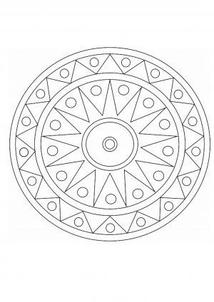 Раскраска антистресс с простым узоров в круге