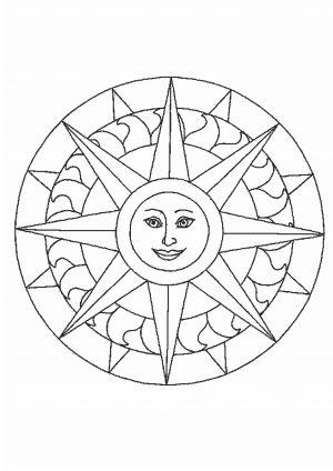 Раскраска простая - солнце скачать