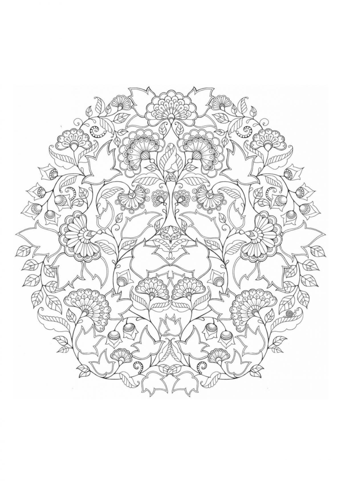 Раскраска антистресс круг с узором - Раскраски А4 формата ...