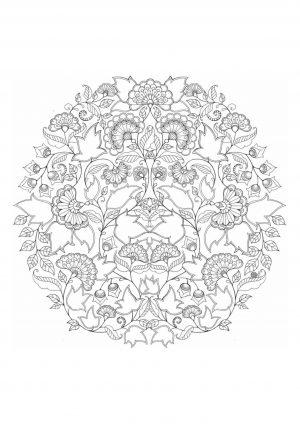 Раскраска антистресс круг с узором распечатать