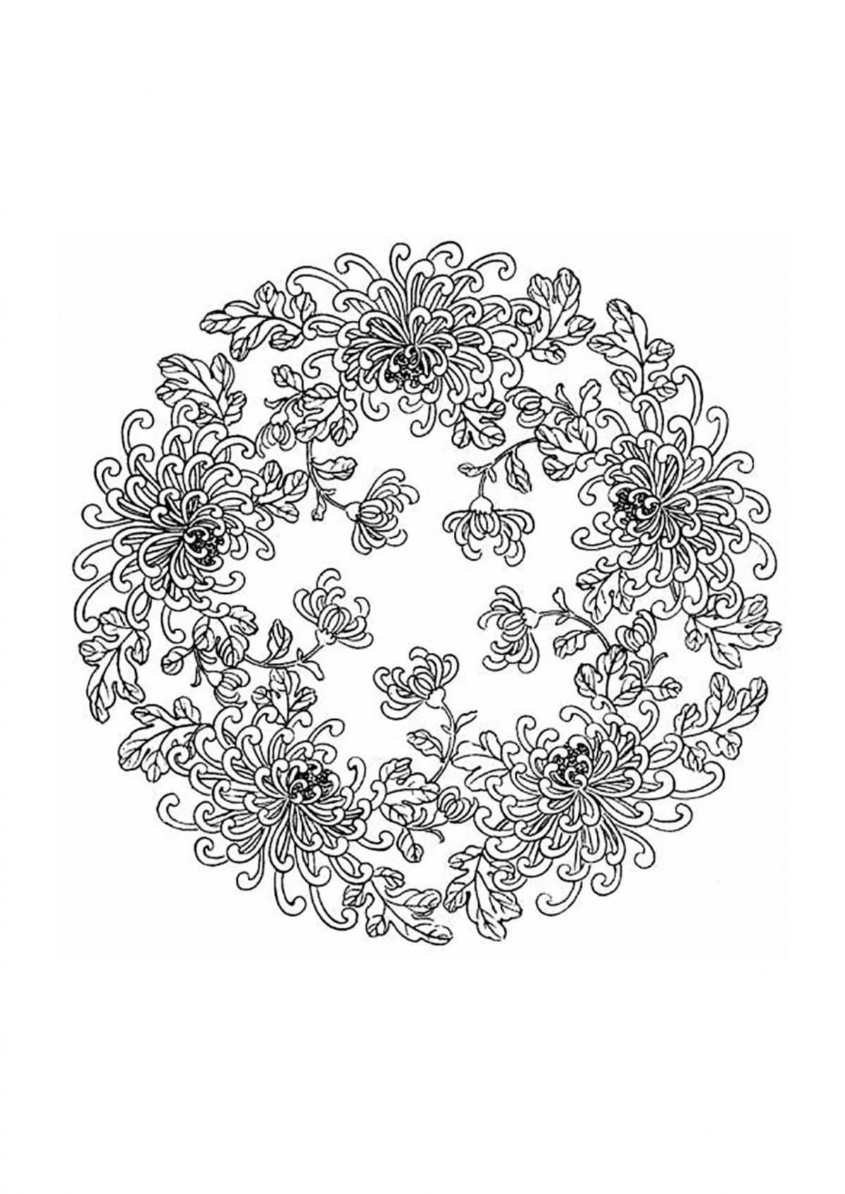Раскраска антистресс с цветами в круге - Раскраски А4 ...