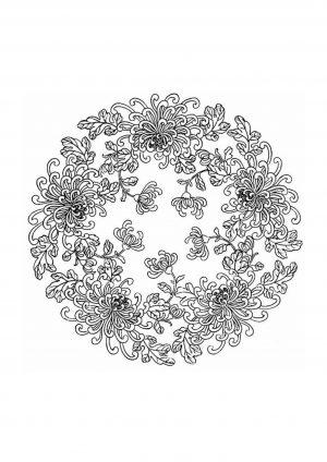 Раскраска антистресс круг с цветами распечатать