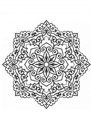 Раскраска узор в круге с индийским узором