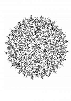 Раскраска антистресс с сложным узором в круге