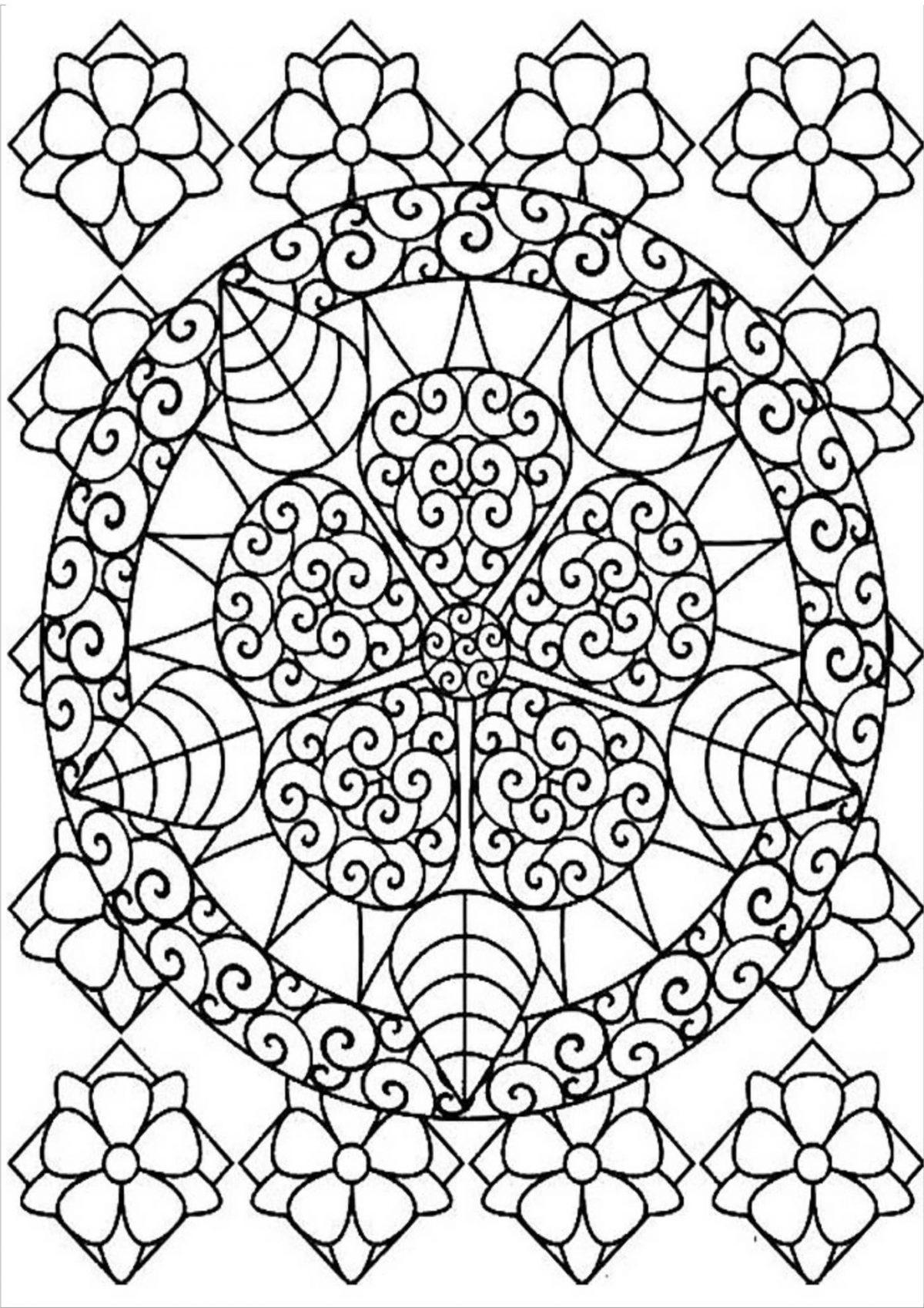 Раскраска узор в круге на весь лист - Раскраски А4 формата ...