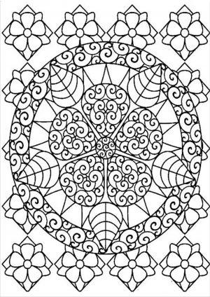 Раскраска узор в круге на весь лист распечатать