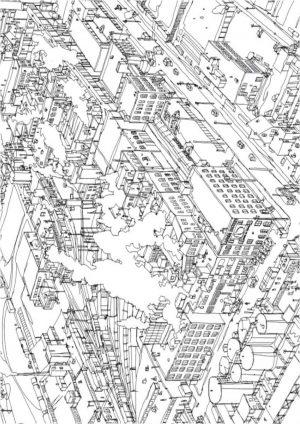 Распечатать раскраску антистресс город