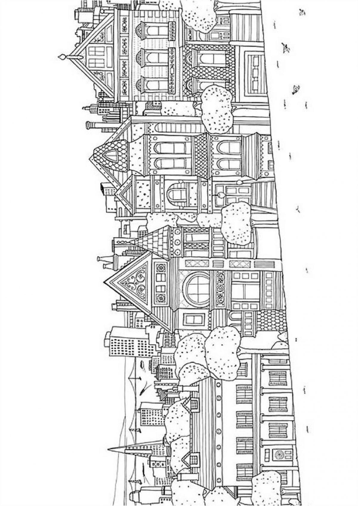 Раскраска город - Раскраски А4 формата для распечатки