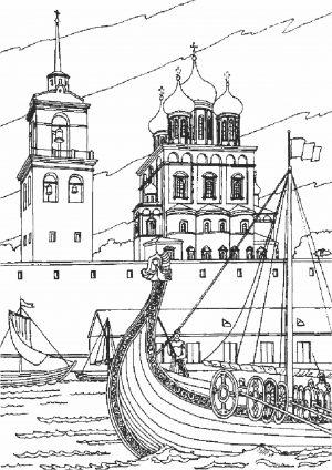 Раскраска Храм у воды
