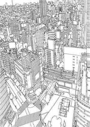 Раскраска город вид сверху