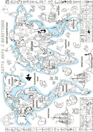 Раскраска антистресс карта мира
