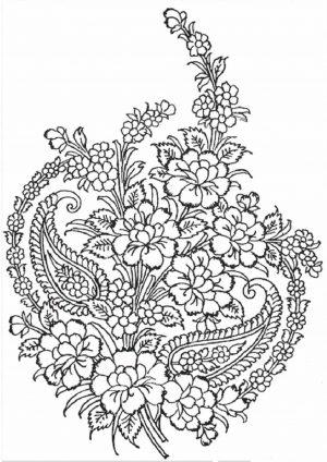 Раскраска антистресс букет сердце с цветами