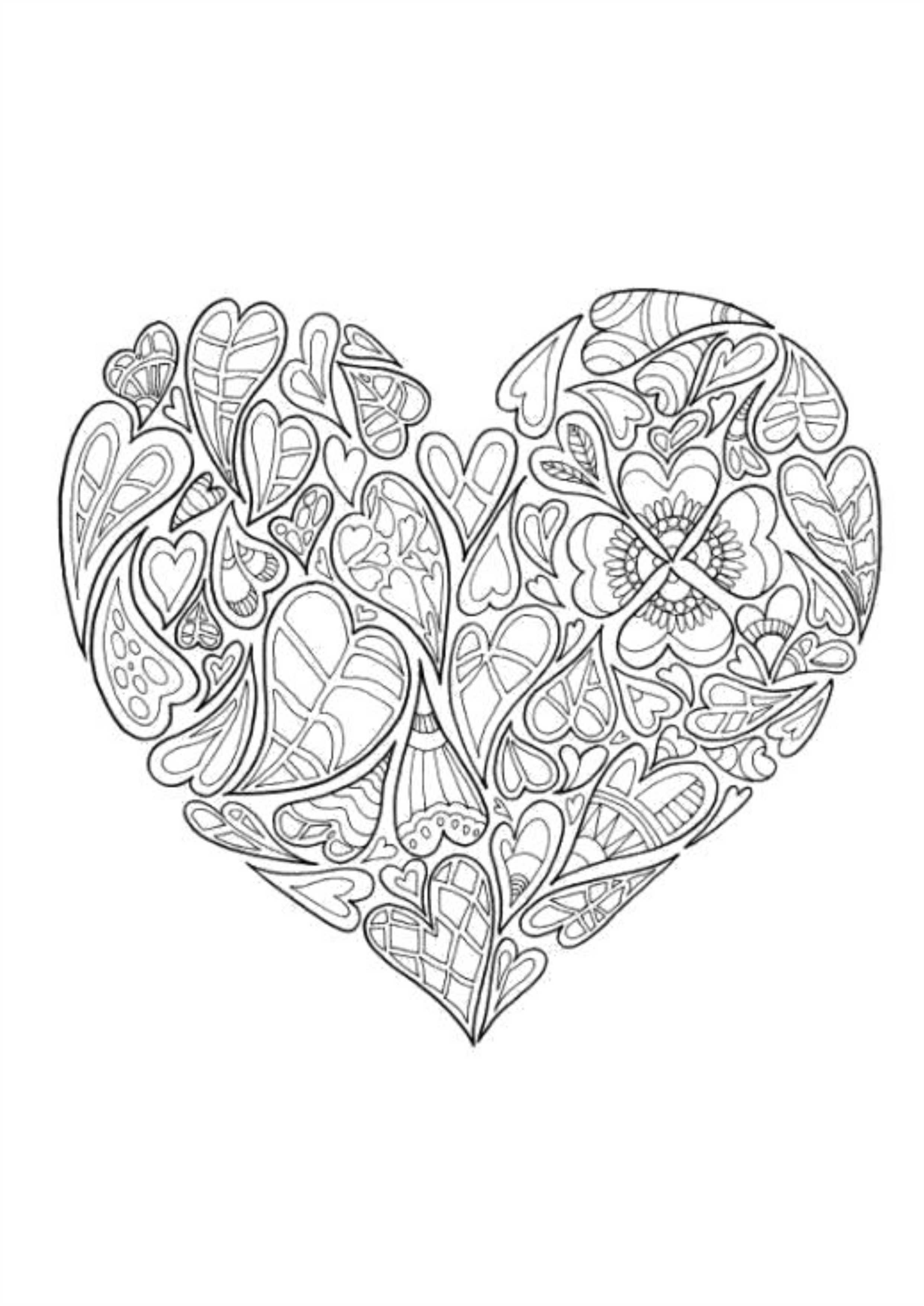 сердце из узора распечатать на а4 раскраски а4 формата