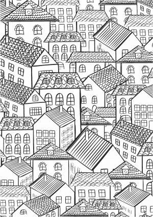 Раскраска город распечатать