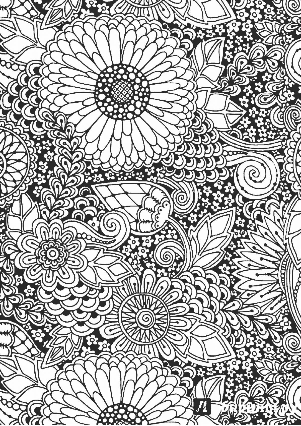 Раскраска с цветами