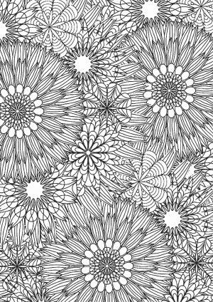 Раскраска с круглыми цветами