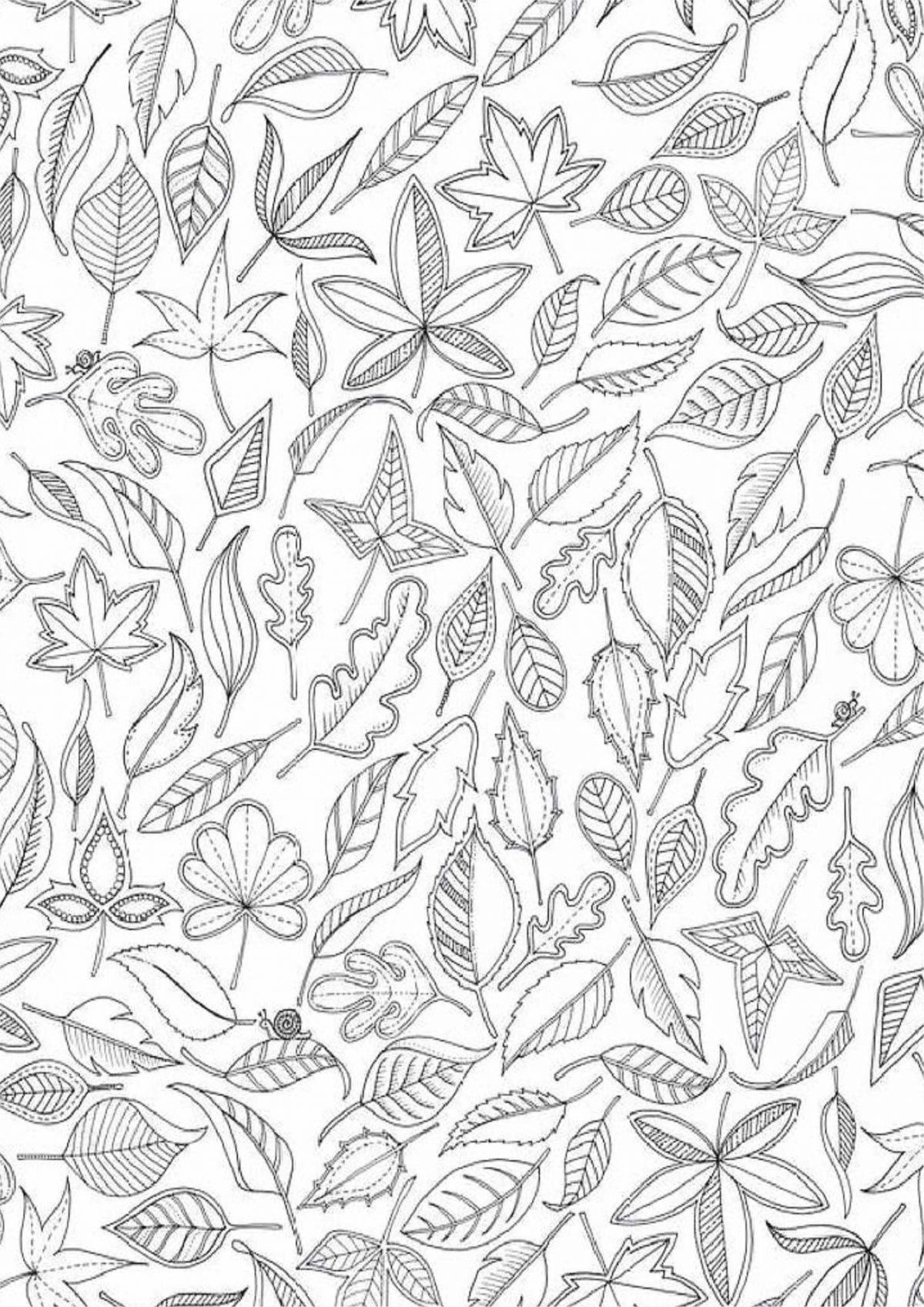 Раскраска с листвой