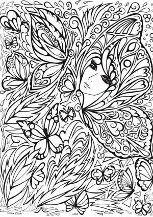 Раскраска с девушкой и бабочками
