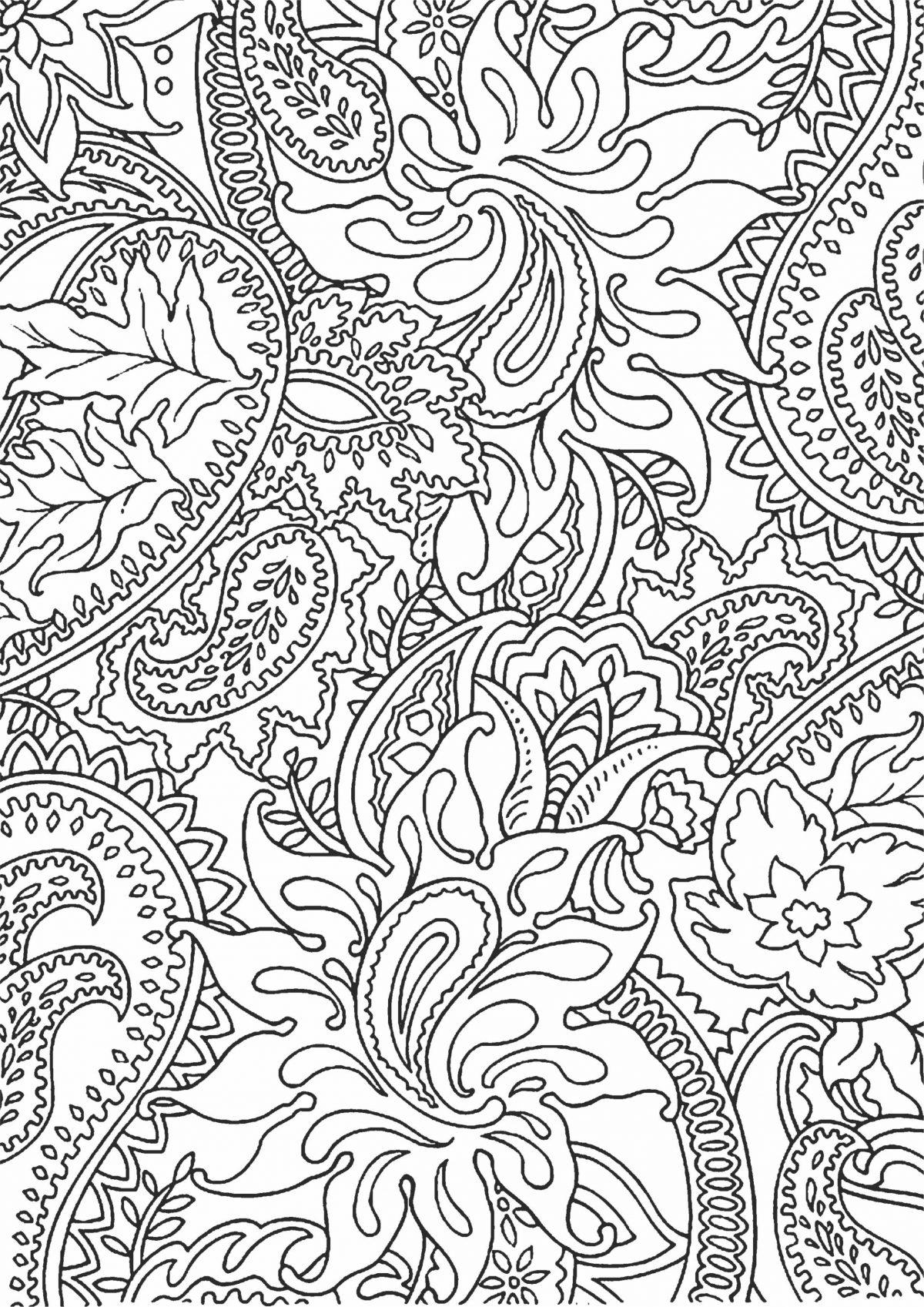 Раскраска с цветами и листьями