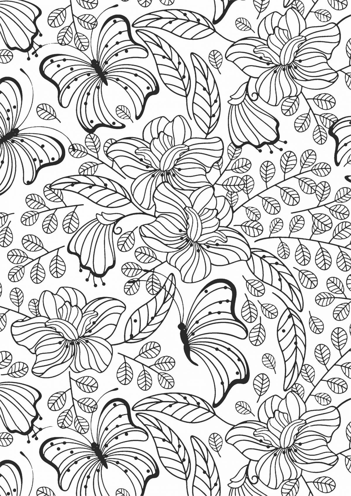 Раскраска с цветами и бабочками