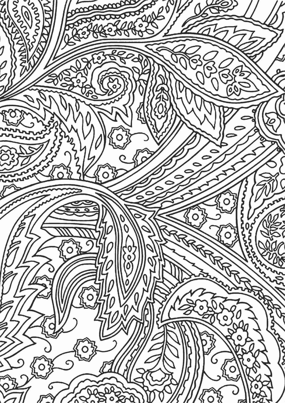 Раскраска с листьями и полосами