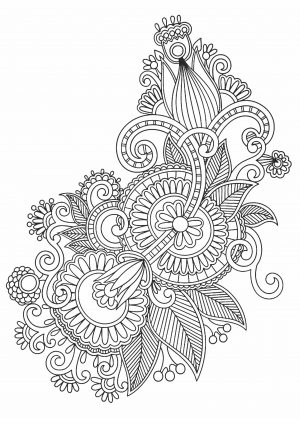 Раскраска Цветы с узором
