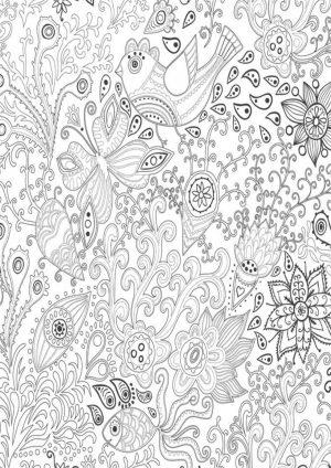 Раскраска цветочный луг