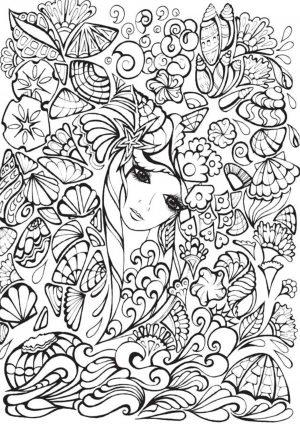 Раскраска девушка на лугу