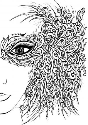 Раскраска Лицо девушки в маске