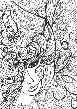 Раскраска с девушкой и венком из цветом