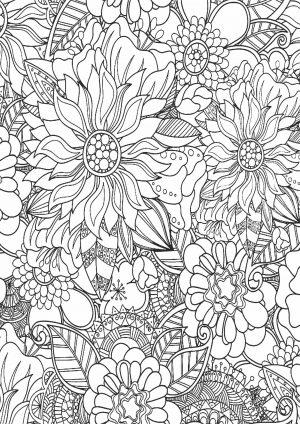 Раскраска с цветочным ковром