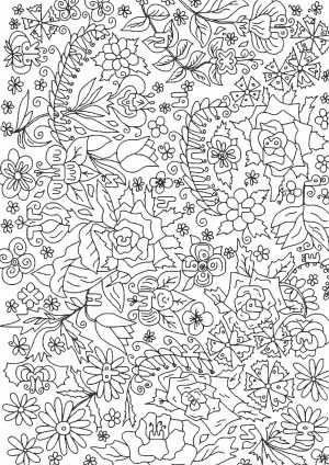 Раскрасить цветочный сад