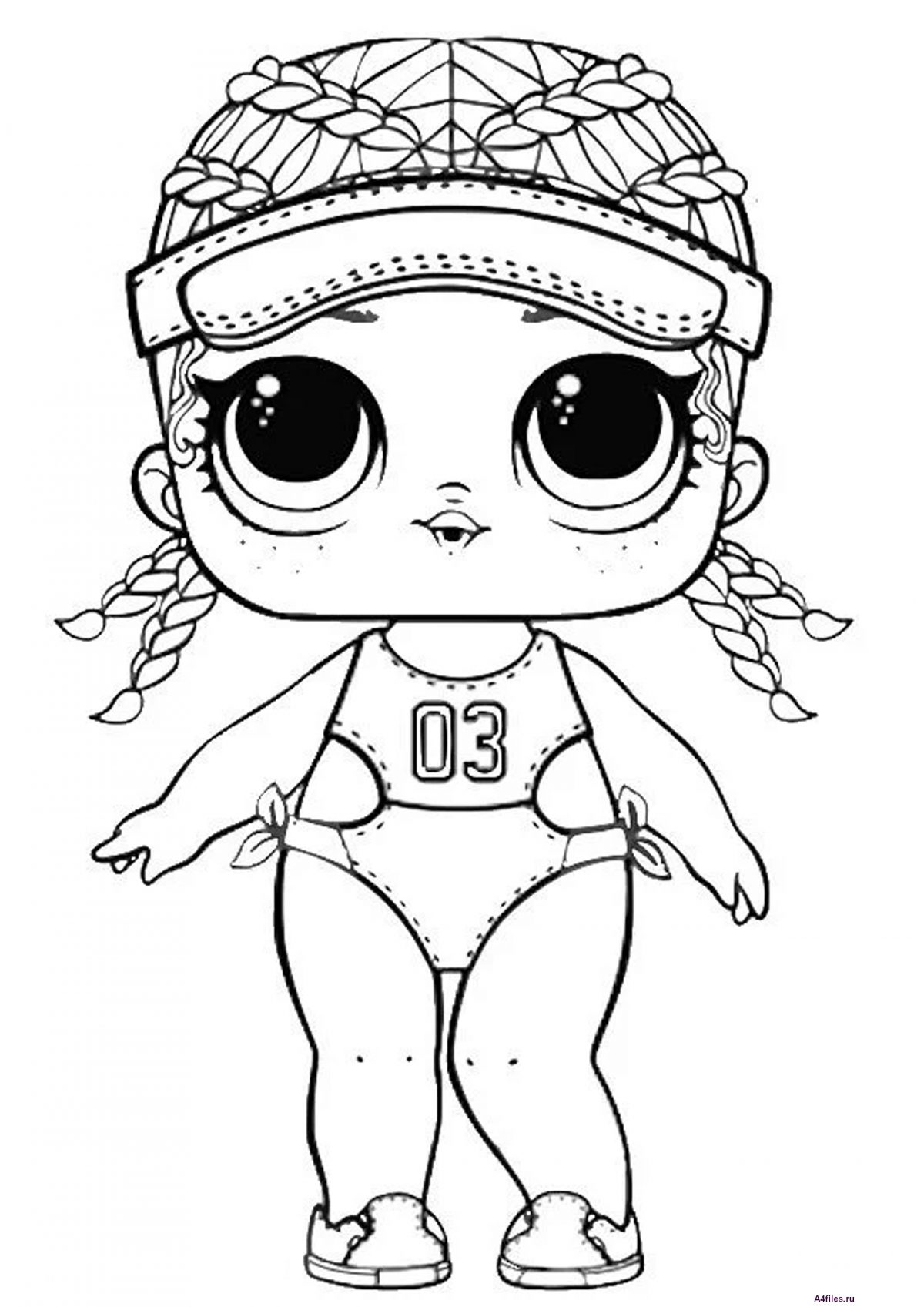 "Раскраска ""Кукла ЛОЛ"" в купальнике - Раскраски А4 формата ..."