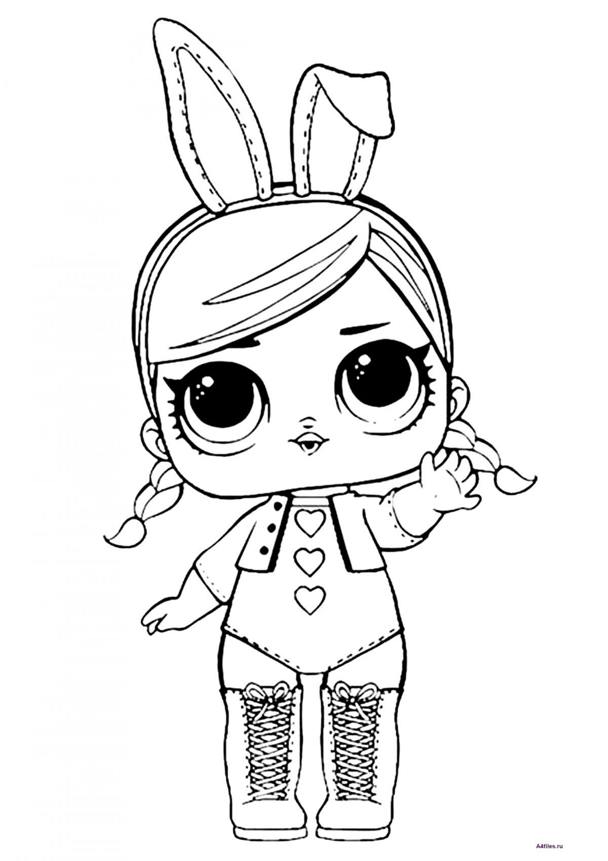 """Раскраска """"Кукла ЛОЛ"""" в костюме зайчика - Раскраски А4 ..."""