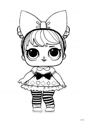 Красивая кукла ЛОЛ с бантом - раскраска для девочек